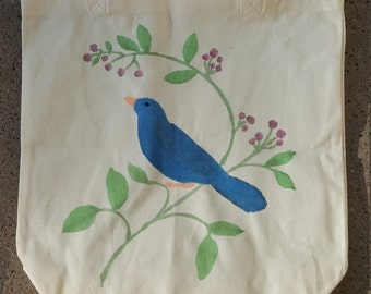 Blue Bird  on a Branch Shopping Tote