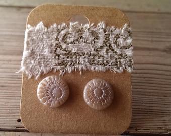 polymerclay earrings, studs, polymerclay, silver, print, metallic, handmade, handmade jewellery, sheoak seed,