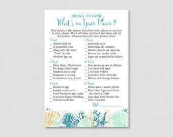 Beach Themed What's in Your Phone Game - Printable Blue and Aqua Nautical Bridal Shower Phone Game - Nautical Bridal Phone Search 0012-B