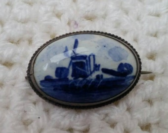 Antique Sterling Silver Delft Brooch Blue and White Vintage Pin