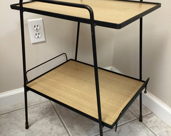 Mid Century Modern Wrought Iron End Side Table Serving Tray Patio Bar
