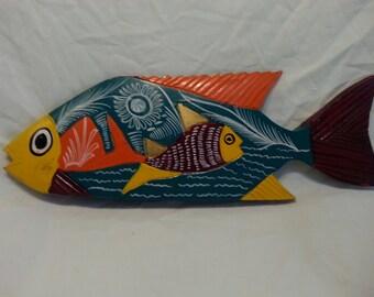 Wood  Folk Art Fish Colorful