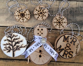 Set of Rustic Christmas Ornaments with Gift Box, Christmas tree ornaments, woodburned ornaments, woodland ornaments(Free Shipping)