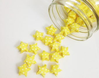 48 Yellow Origami Stars: Polka Dot Mini Stars - Origami Decorations - Paper Stars - Yellow White - Baby Shower Decorations - Gender Neutral