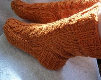 Orange hand knit socks,sheep wool bed socks,UK-4-12,USA 5-13,EU 35-47 .Kozizake.
