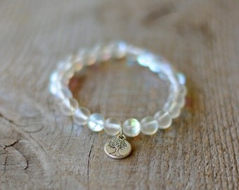 Silver plated bracelet semi precious Gemstones - matte Moonstone - tree of life charm - gift women
