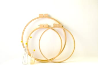 Set of 3 Giant Wooden Embroidery Hoops