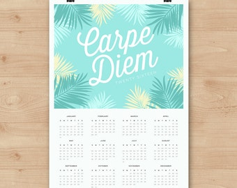 SALE! // Wall Calendar 2016 Carpe Diem // Available in A4 or A3 size // Cute and fresh typography // Modern Fern Typography design