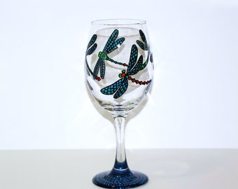 Dragonfly Wine Glass, Hand Painted Glassware, Dragonflies, Dragonfly, Wine Glasses, Dragonfly Gifts, Gifts for Her, Housewarming Gift,