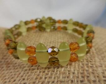 Chartreuse Green Glass Beaded Bracelet