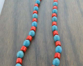 Coral and Turquoise Jewelry, Coral Necklace, Statement Necklace, Turquoise Coral Necklace