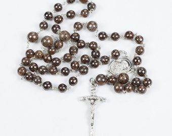 Boulder Opal Men's Rosary, 8mm and 10mm Brown Boulder Opals, Sacred Heart of Jesus Center, John Paul Crucifix for Catholic Dads