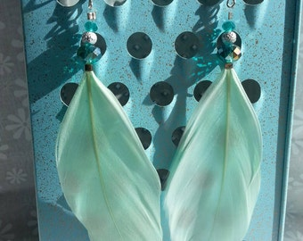 Teal Goose Feather Earrings