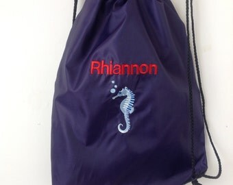 Personalised drawstring swim bag