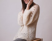 Loose sweater, long jumper, oversized alpaca knit, grunge clothing, soft, hippie clothing, hygge knitwear, fluffy jumper, ivory pullover