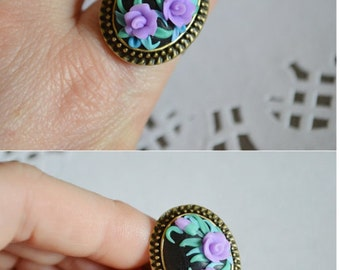 Green|and|lilac Ring Polymer Clay Ring Adjustable Floral Ring Beautiful ring handmade Jewelry signet ring gift idea|for|her Christmas gift
