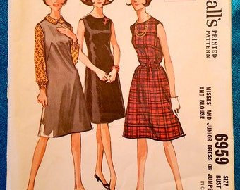 "Vintage 1963 dress jumper pinafore and blouse shirt sewing pattern - McCall's 6959 - size 14 (34"" bust) - 1960s"