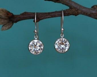 Cubic Zirconia Earrings, Cubic Zirconia Dangle Earrings, Faux Diamond Earrings, Sterling Silver Earrings, Bridal Earrings, Wedding Jewelry