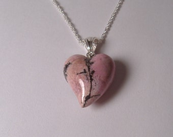 Rhodonite Carved Heart Pendant Sterling Silver Pink and Black H-23
