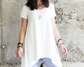 White Casual Top / Loose Cotton Blouse / Extravagant Top / Loose Tunic by Fraktura B0032