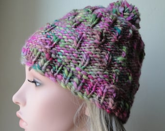 pink wool pompom hat, woman knitted cap, pink and green hat, knitted chunky toque, textured knit, winter warmer, OOAK knit hat, gift for her