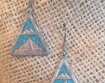 Mayan Image Turquoise Earrings