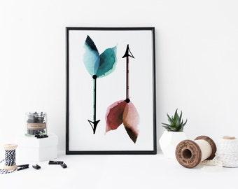 Arrow print, Arrow wall art, watercolor Arrow poster, Tribal wall art, boho print, home decor, Arrow nursery decor, gift, apartment decor
