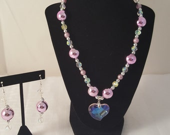 Purple Necklace- Heart Necklace - Heart Pendant Necklace - Heart Pendant - Pendant Necklace - Purple Jewelry Set - Purple Jewelry - Purple