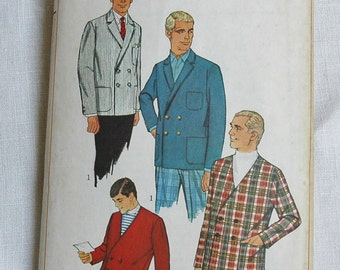 Vintage men's jacket pattern, double-breasted, Simplicity 7398, size chest 34 inches, 1967