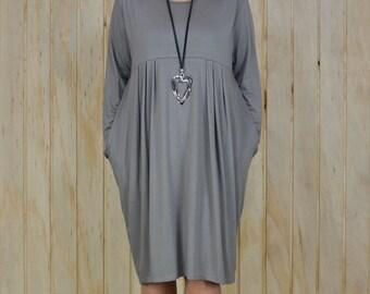 Lagenlook Dress, Plus Size,  UK16 18 20 22 24 26 28 30 Quirky Tunic Top Mocha/Beige Pockets, Ladies Dress, Womens Plus Size, NEW M37