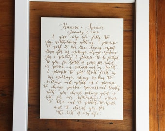 Customizable Calligraphy Wedding Vows