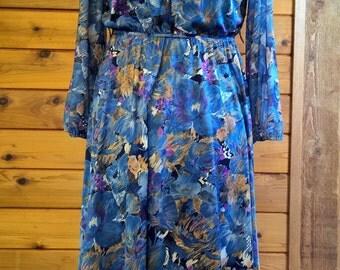 1970s 1980s Blue Floral Button Front Dress Sz XL