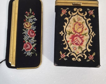 vintage french cigarette case tapestry needlepoint and comb in tapestry case