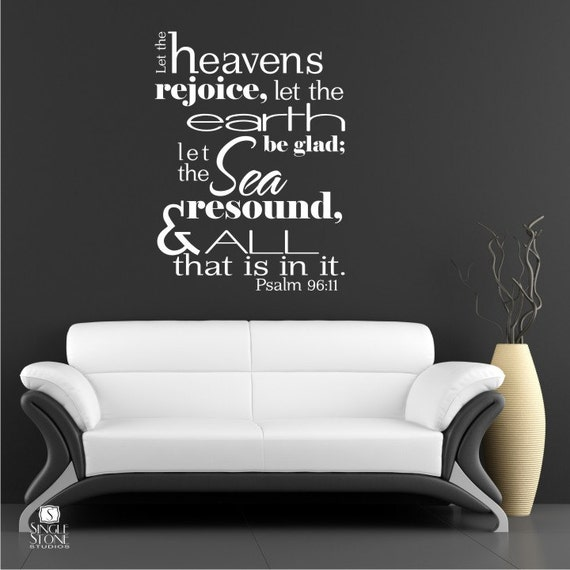 Items similar to bible verse wall decals psalm 96 11 for Bible verse decor