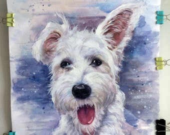 Christmas gifts for mom Custom Dog portrait Custom Dog Painting Custom Pet portrait Watercolor Painting Original Painting Personalized Pet