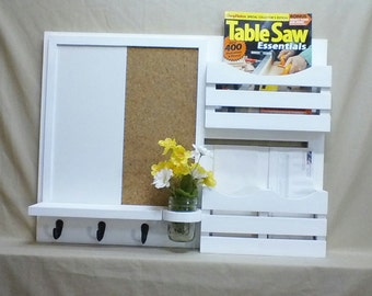 Message Center - Dry Erase Board - Cork Board - Mail Organizer - Magaizine Holder - Key Holders - Jar Vase