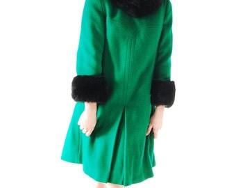 60s Green Vintage Coat - Black Faux Fur, Small, Women's Coat, Vintage, Outerwear