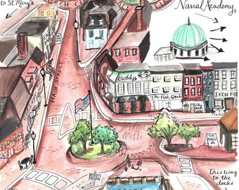 Downtown Annapolis Map Illustration Art Print Historic Maryland Capitol