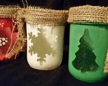 Christmas Luminaries w/free tealight candle, Tree, Snowflake, Poinsettia, holiday star pint mason jar, home decor, rustic, lighting, gift