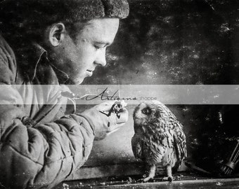 Digital Download Printable - Soldier with Owl Antique Photograph - Paper Crafts Scrapbooking Altered Art - Vintage Black & White Photography
