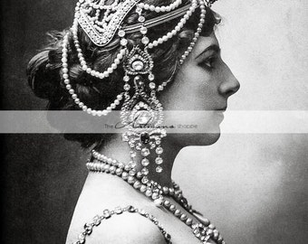 Digital Download Printable - Mata Hari Portrait Woman in Fancy Head Dress - Paper Crafts Scrapbooking Altered Art - Antique Photography