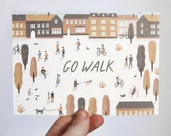 go walk. postcard
