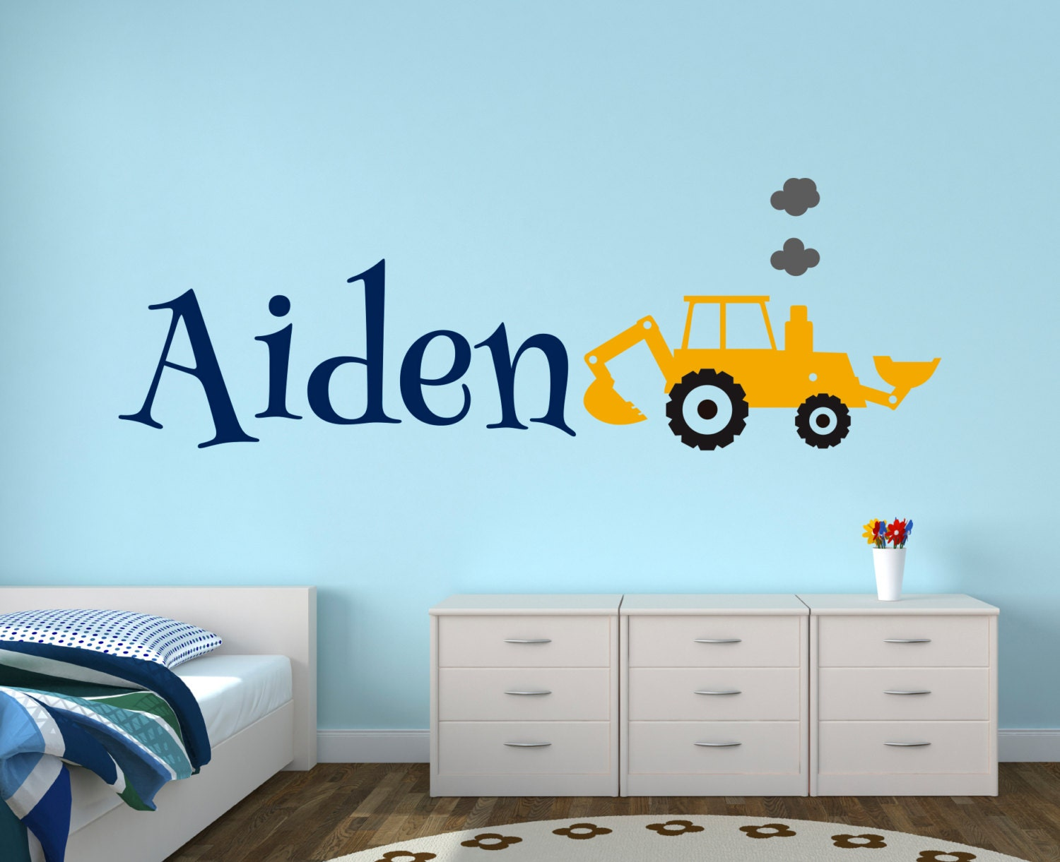 construction truck wall decal name wall decal boys room. Black Bedroom Furniture Sets. Home Design Ideas
