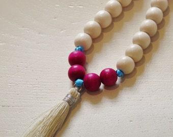 Boho Cream Silk Tassel, Cream & Fuchsia Wooden Beaded Necklace on Turquoise Ribbon, Yoga, Surf, Beach Jewellery