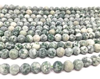 """6mm Frosted Natural Green Spot Jasper Beads (15"""" full strand)"""