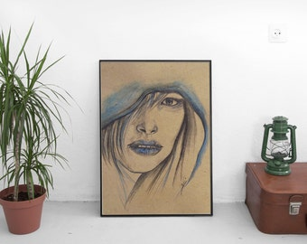 "Art, Girl, Portrait, Modern Street Art Style Portrait, Graffiti Style Art, Contemporary Pencil Artwork, Designer Wall Art 8 x 10"""