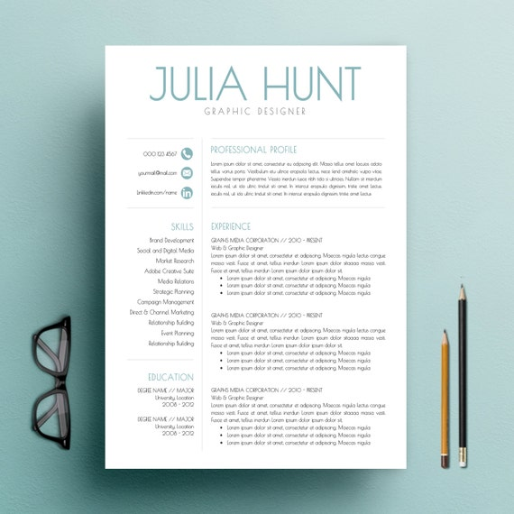 teacher template word cv template and cover letter template for word 3 pack professional and creative design mac or pc - Creative Cover Letter Template