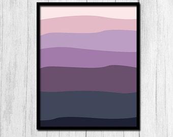 Purple Print Sunset Print Digital Download 8x10 Purple Art Purple Sunset Mountain Range Print Mountain Print Printable Art Mountain Sunset