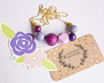 Passion Plum Hand painted Wooden Bead Necklace