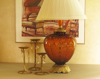 Amber Glass Lamp Large Round Lamp Hollywood Regency Lighting Nightlight